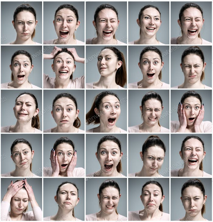 33Set of young woman's portraits with different emotions on gray background2