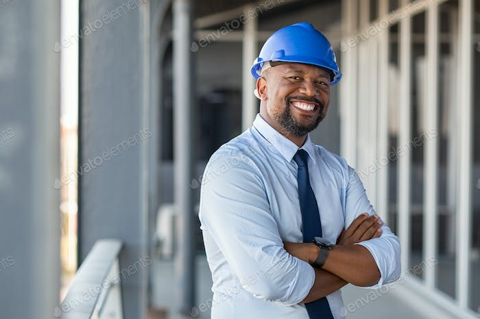 Successful contractor at building site