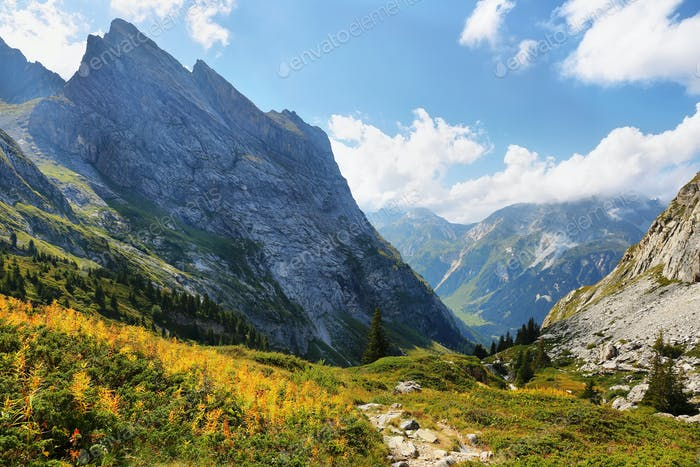 View of mountains in Vanoise national park of french alps, France