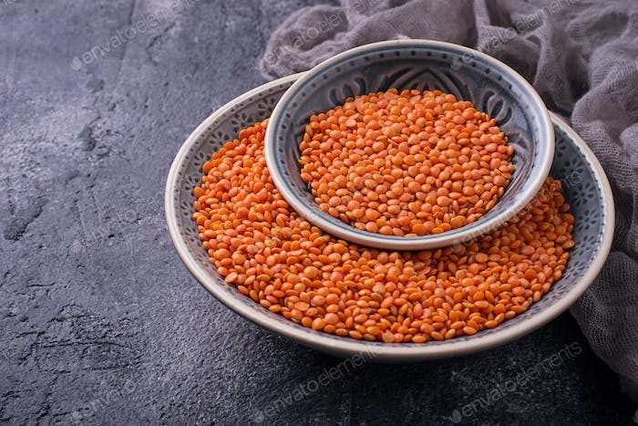 Bowl with red lentils