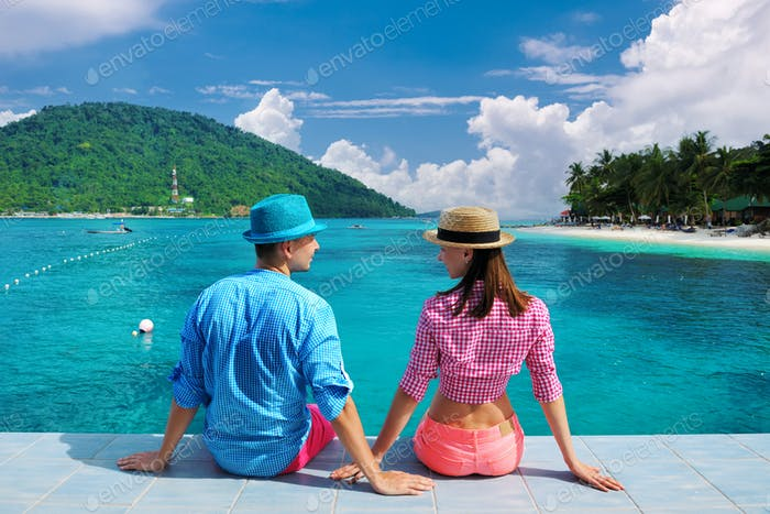 Couple on a tropical island