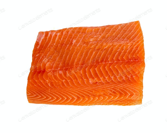 Fresh salmon fillet isolated on white backgrund, top view