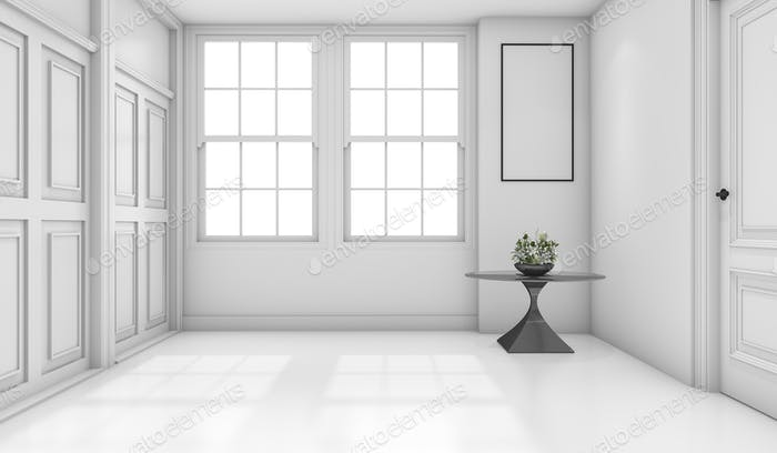3d rendering empty white classic bathroom with mock up