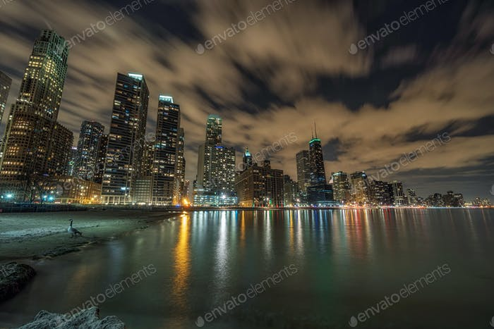 Chicago Cityscape river side at beautiful twilight time, Illinois, United States, USA