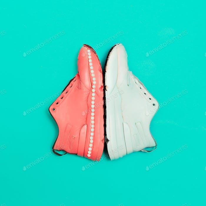 Sneakers on the platform. Minimal design art