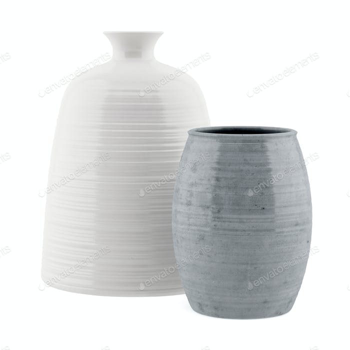 two ceramic vases isolated on white background. 3d illustration