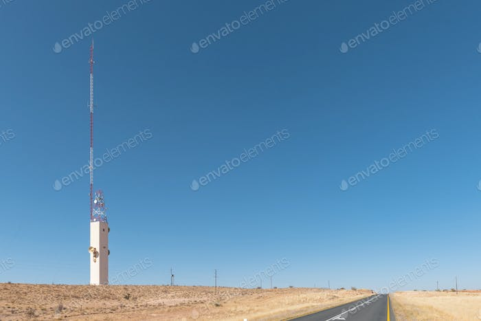 Microwave telcommunications tower and cell phone tower near Kalkrand