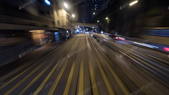 Night tram ride in Hong Kong