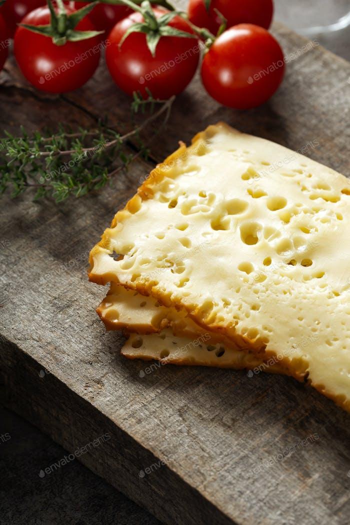 Three slices of scheiben cheese