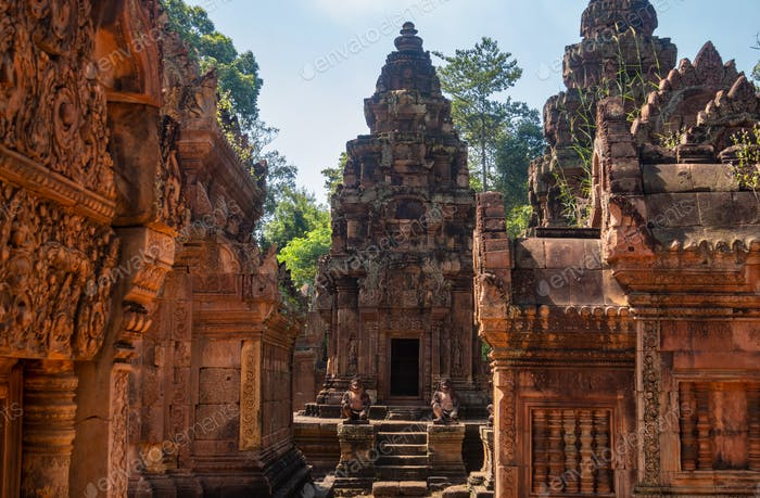 Banteay Srei or Banteay Srey is a 10th-century Cambodian temple dedicated to the Hindu god Shiva,