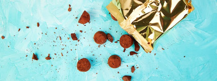 Banner of Chocolate Candy truffles fall out