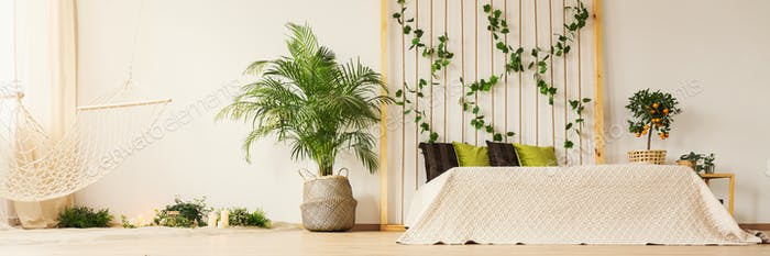 Spiritual bedroom with plants