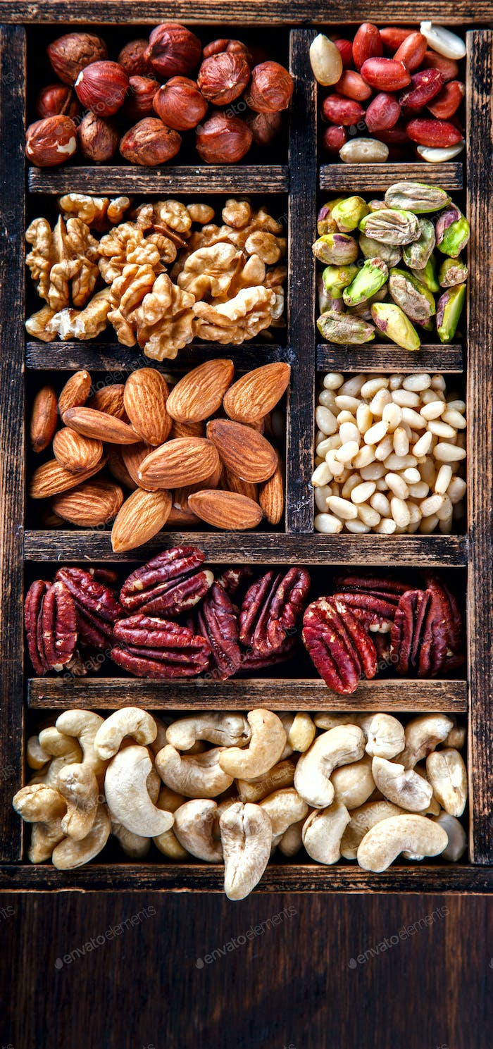 Nuts Mixed.Assortment, Walnuts.Concept of Healthy Eating