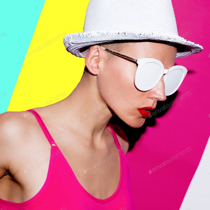 Beach Accessories minimal hat and sunglasses. Model pop art fash