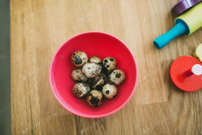 Healthy quail eggs on kitchen table