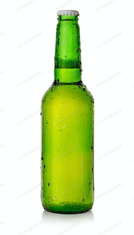 Beer in a green bottle