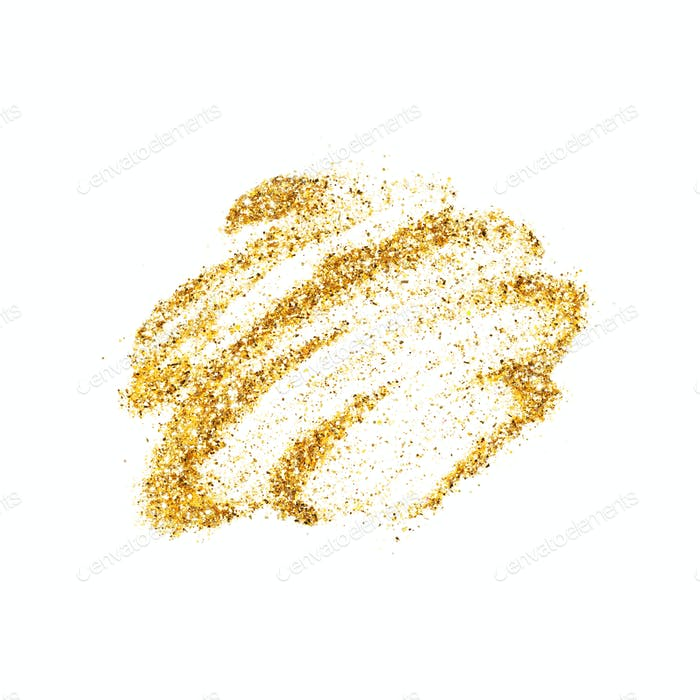 Isolated on White Smear og Golden Glitter.