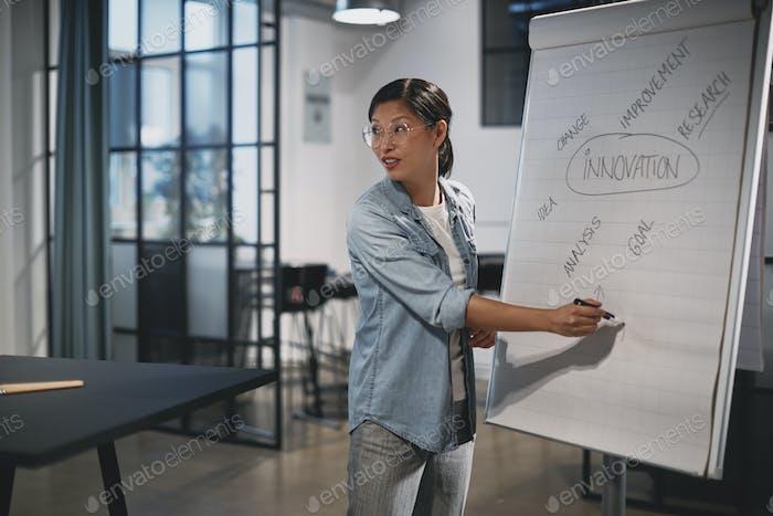 Азиатская бизнесвумен идет над концепциями во время презентации офиса