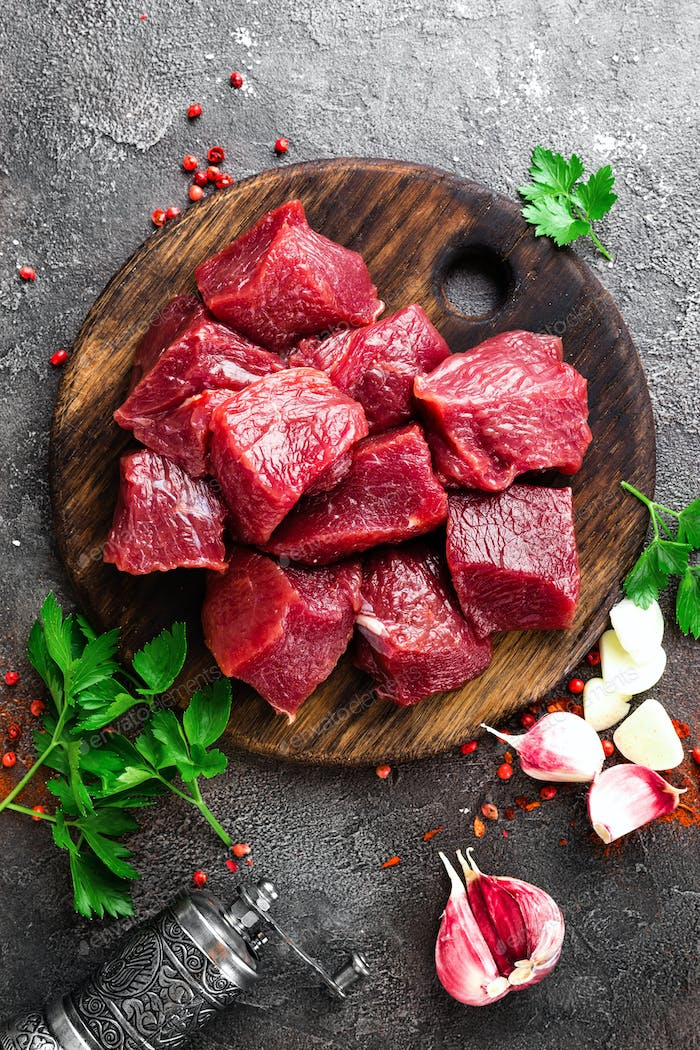 Raw beef meat. Fresh sliced beef sirloin