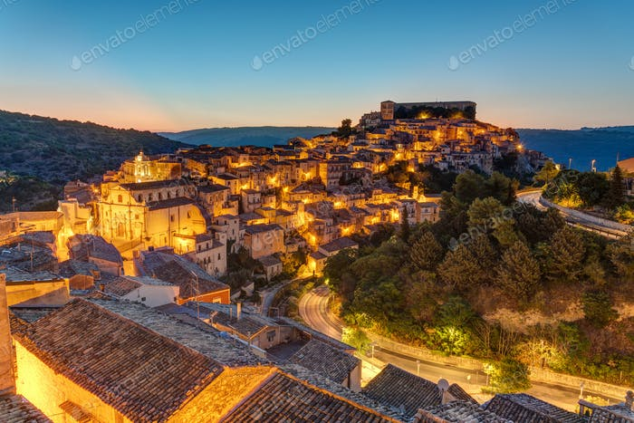 Ragusa Ibla in Sicily at dusk