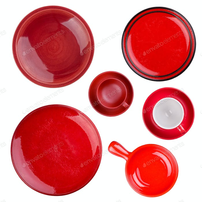Set of red round plates