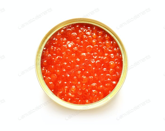 Red caviar in the open metal container
