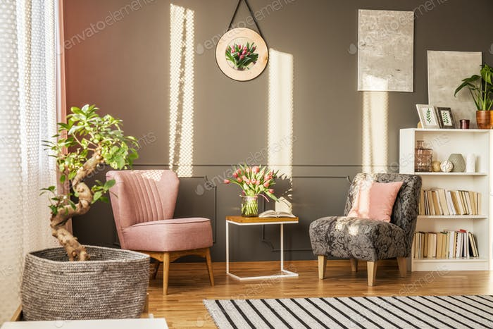 Bonsai in elegant living room