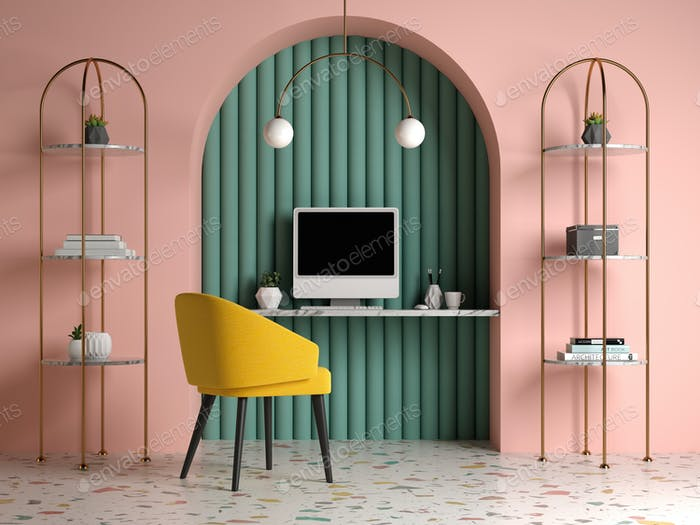 Memphis style conceptual interior Home office 3 d illustration