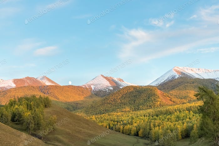 the moon rise on autumn dusk in baihaba village, altay region, xinjiang, China
