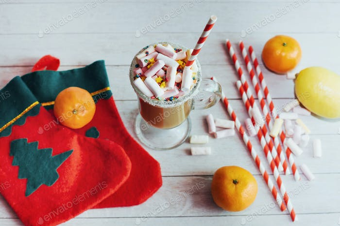 Christmas still life - cup of hot chocolate with marshmallows, c