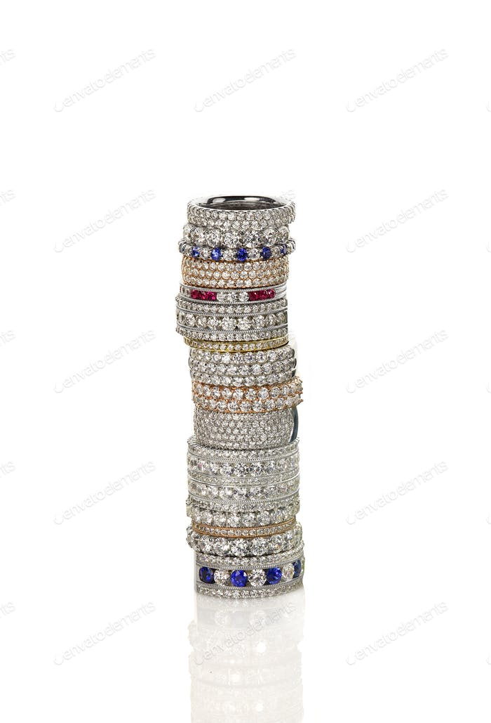 Diamond gemstone rings stacked together bridal wedding and engagement