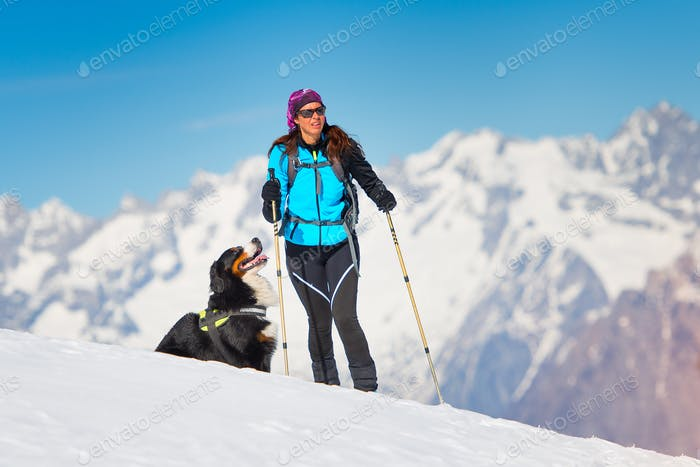 Alpinist girl on skis and sealskins alone with his dog faithful