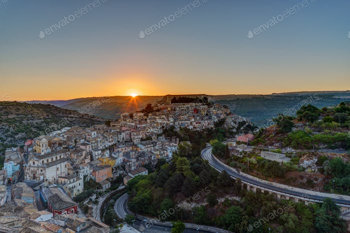 The sun rises over Ragusa Ibla in Sicily