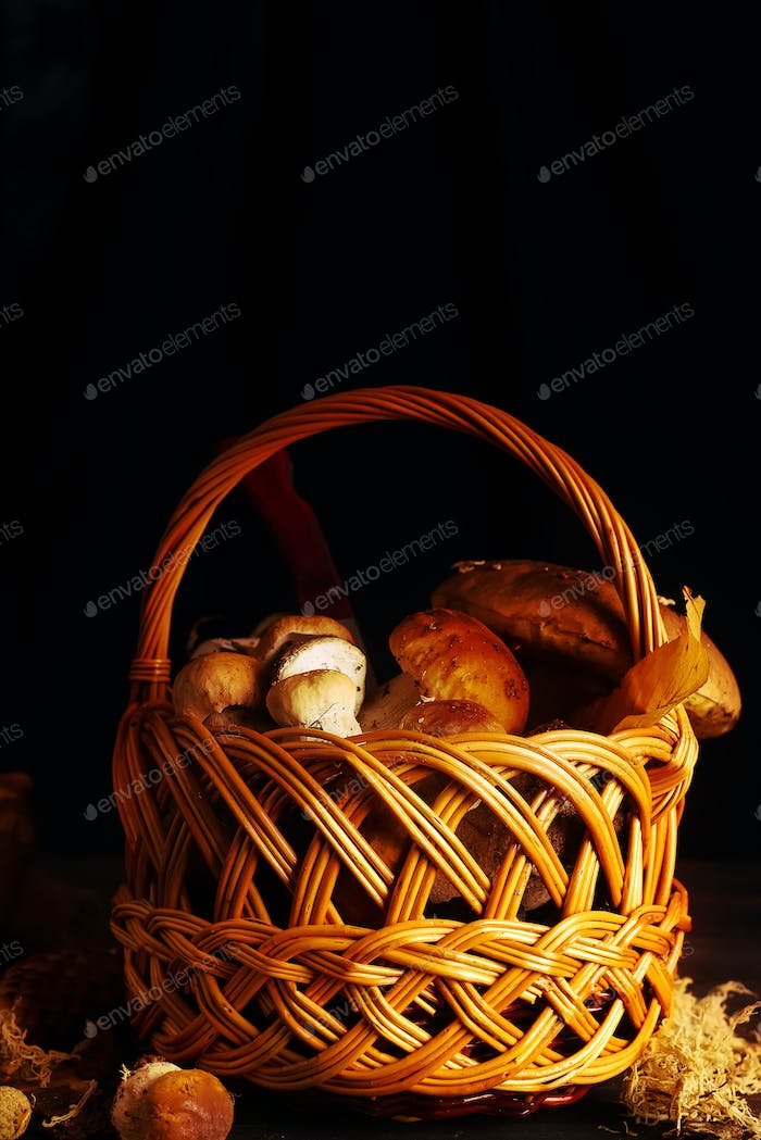 Basket with forest mushrooms on a wooden background