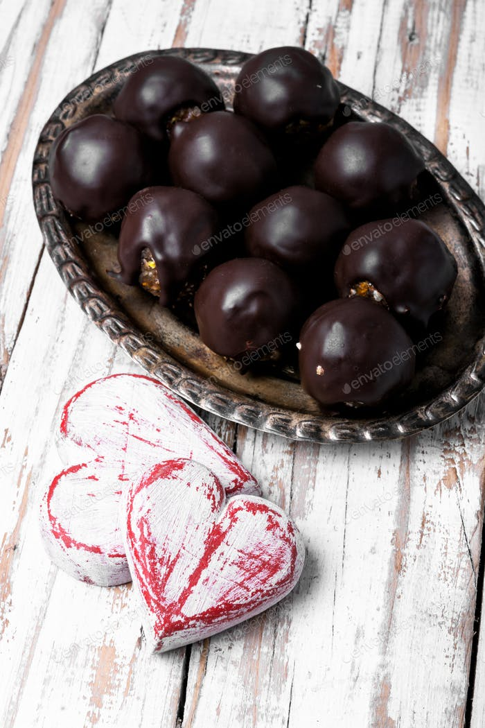Schokoladenbonbons zum Valentinstag