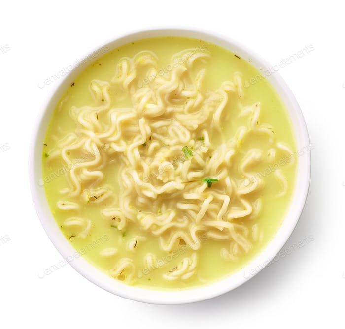 Bowl of soup with noodles and cheese