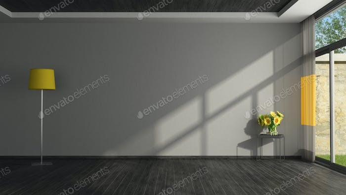 Empty black and yellow living room