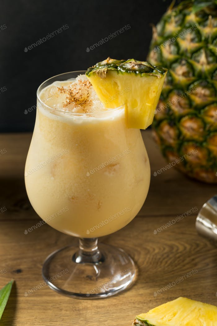 Boozy PIneapple Painkiller Cocktail