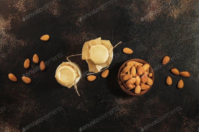 Vegan almond milk in bottles
