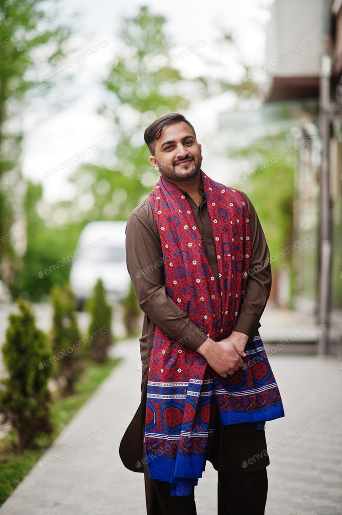 Pakistani pathan man wear traditional clothes.