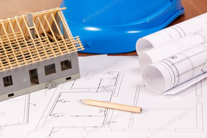Electrical diagrams, accessories for drawing and house under construction, building home concept