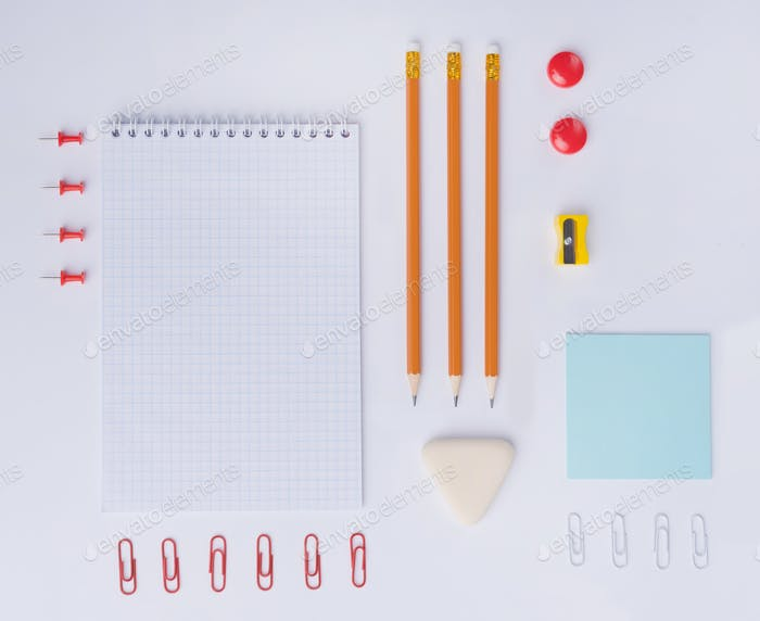 Top view picture of a lot of office supplies
