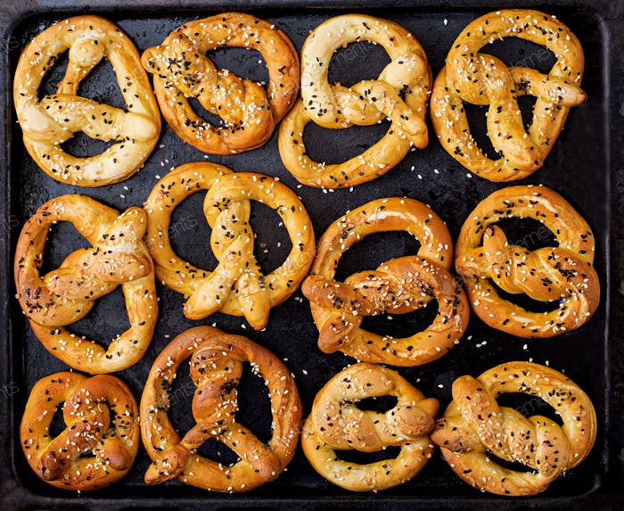 Background texture of pretzels. Top view. Oktoberfest.