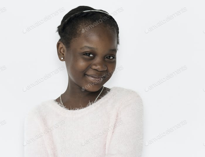 Young black girl cheerful head and shoulder smiling portrait
