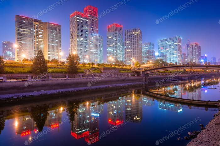 Peking, China CBD Stadt Skyline.