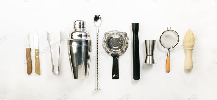 Steel bar tools and accessories for making cocktail