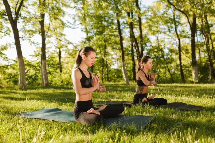 Two beautiful ladies in black sporty tops and leggings sitting in lotus poses