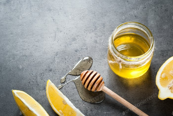 Honey in a glass jar