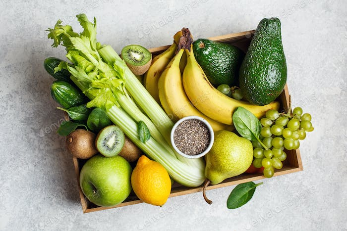 Bio fruits and vegetables for green smoothies