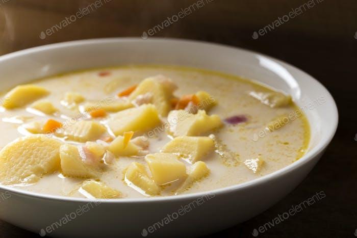 Homemade potato soup with sour cream